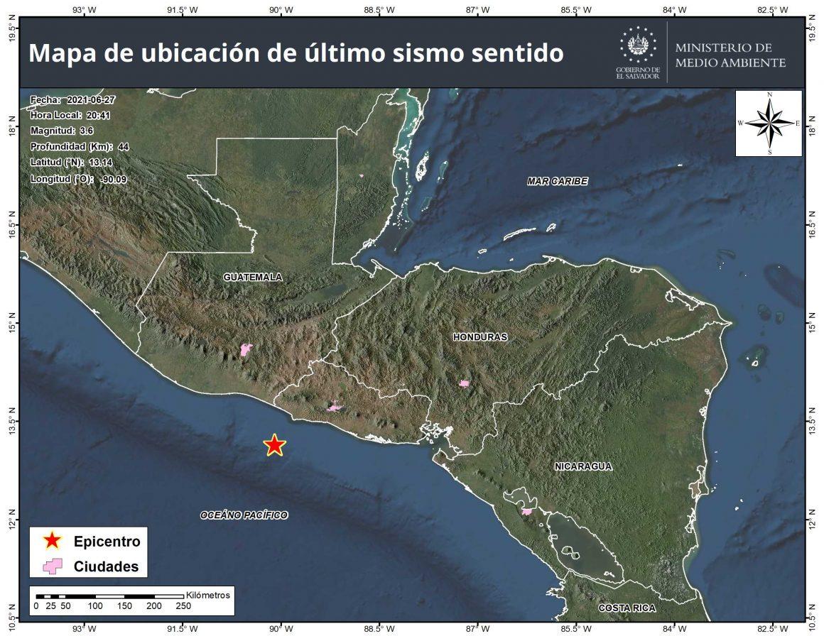 MARN reportó sismo de 3.6 de magnitud frente a las costas de Sonsonate