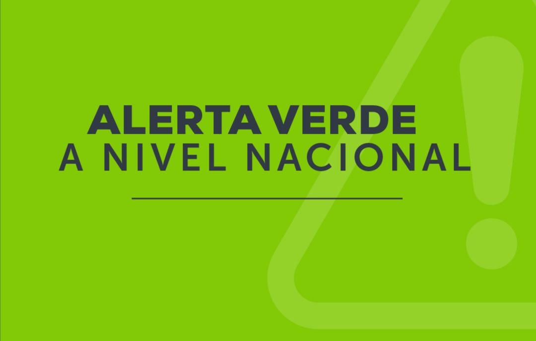 Decretan Alerta Verde en todo el territorio nacional