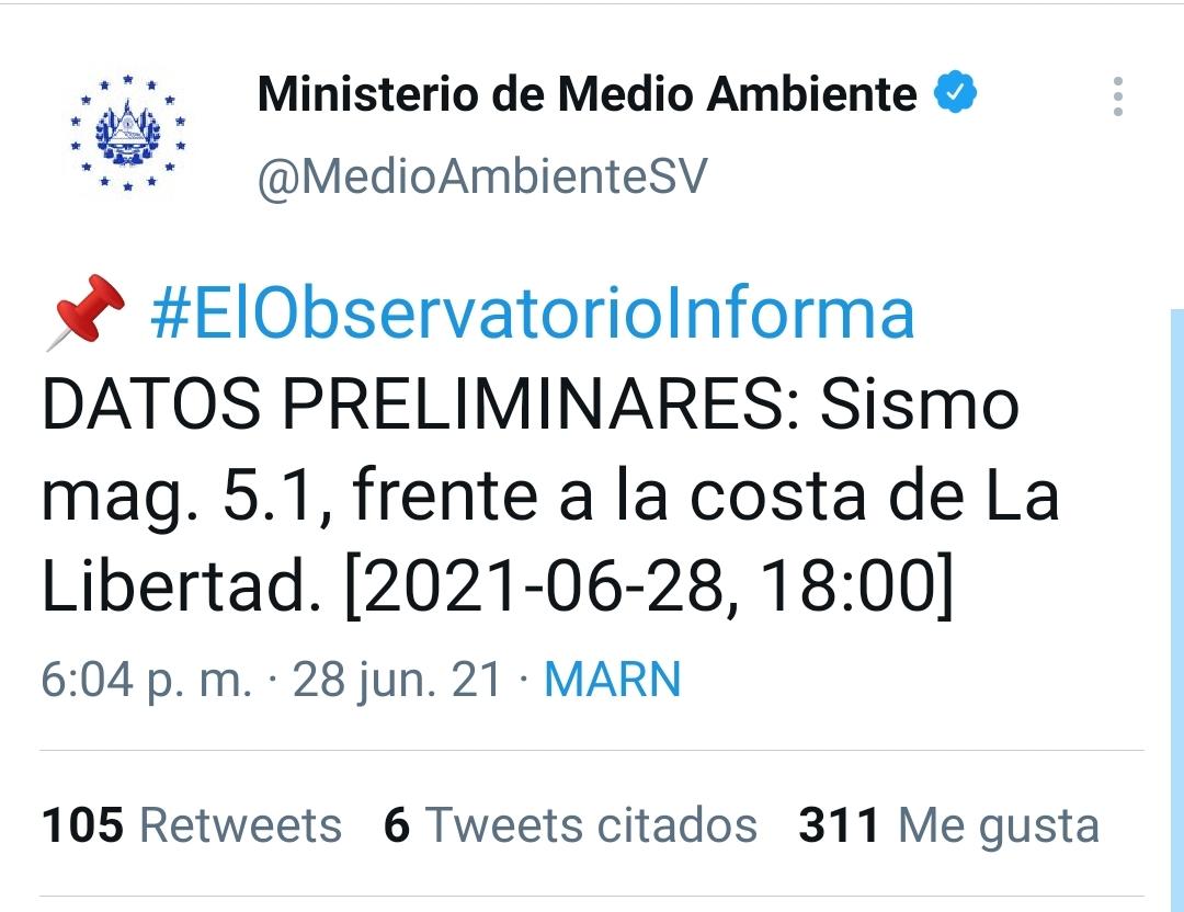 Fuerte temblor de 5.1 sacudió Sonsonate
