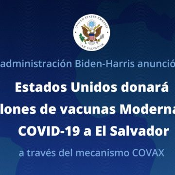 Estados Unidos donará a El Salvador 1,5 millones de vacunas moderna contra el COVID-19