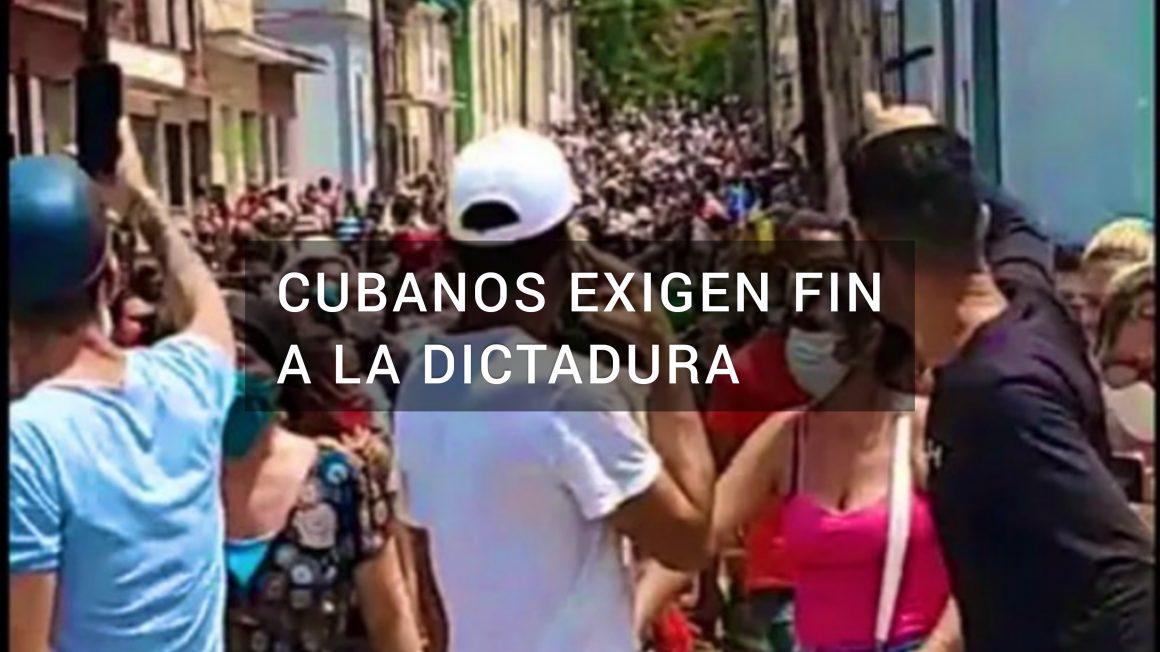 """Al son de gritos como """"libertad"""" y """"que se vayan"""" los Cubanos exigen en las calles fin a la dictadura"""