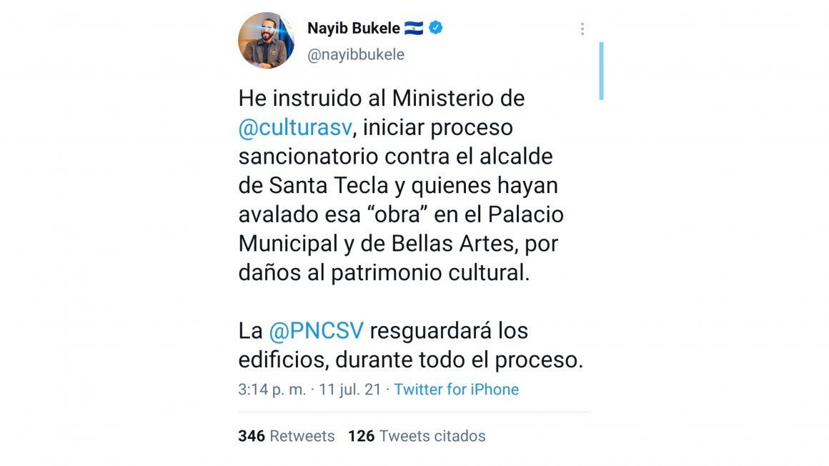 Nayib Bukele ordenó sancionar al alcalde de Santa Tecla, Henry Flores, por daños a la cultura