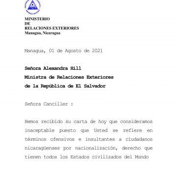 """Nicaragua pide a la Canciller salvadoreña que deje su """"injerencia"""" y """"abuso de poder"""""""