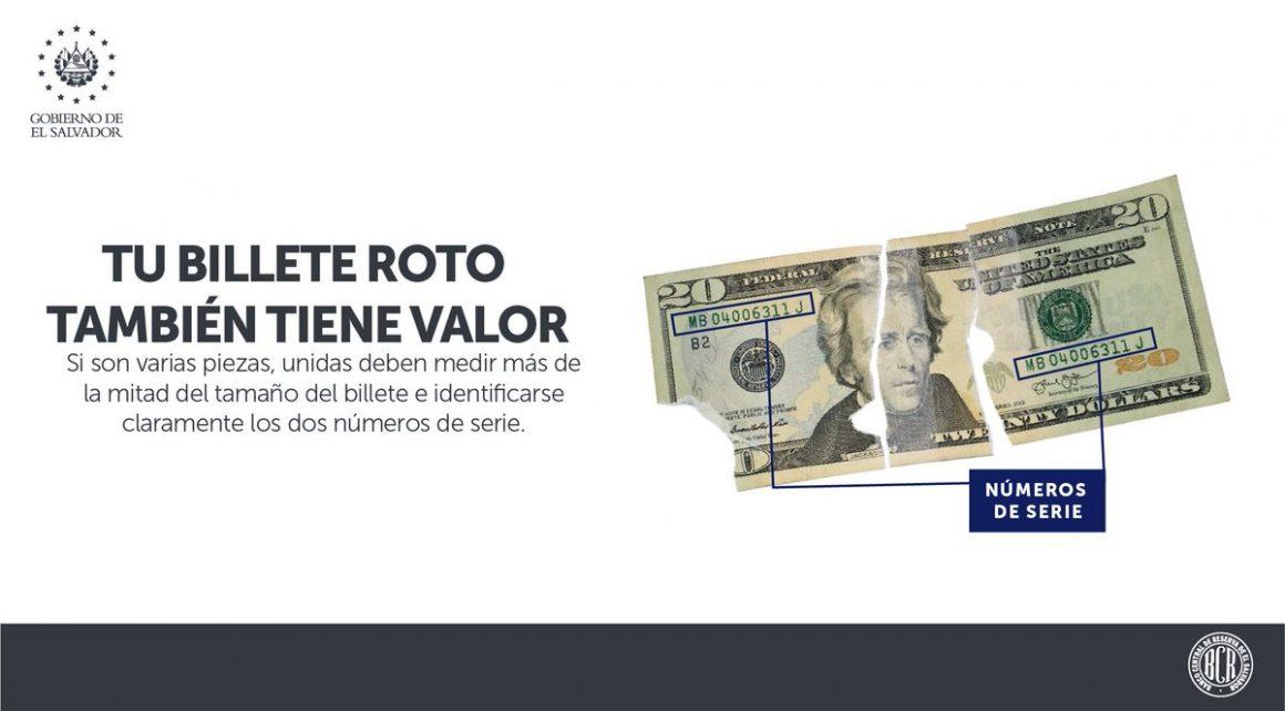 ¿Tiene billetes rotos o mutilados? Sí, se pueden cambiar.