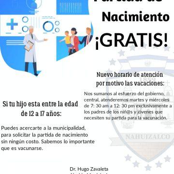Municipalidad emite gratuitamente partidas de nacimiento