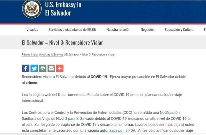 Estados Unidos emite alerta nivel 3 para viajar a El Salvador